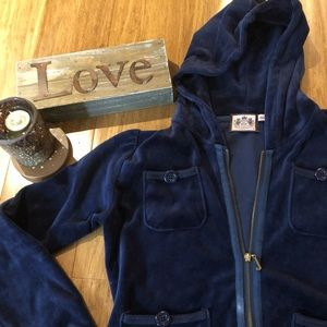 Juicy Couture navy blue velour jacket size small